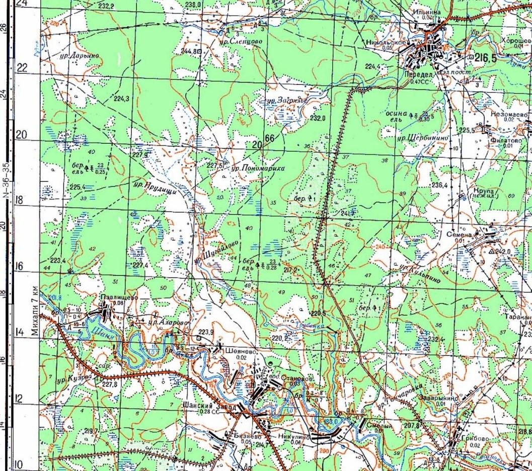 Пономариха карта Генштаба N-36-036-1982